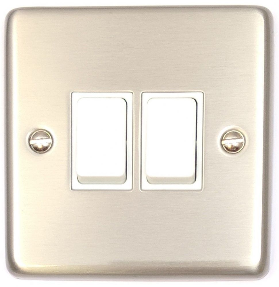 G&H CSS2W Standard Plate Brushed Steel 2 Gang 1 or 2 Way Rocker Light Switch